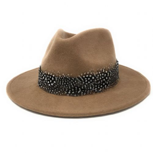 Womens Showerproof Wool Camel Fedora Hat with Country Feather Wrap Trim - Charingworth